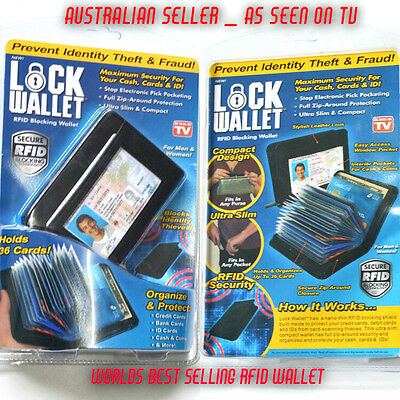 Lock Wallet As Seen On Tv Amazing Slim Rfid Black Leather Wallet   Scan Blocker