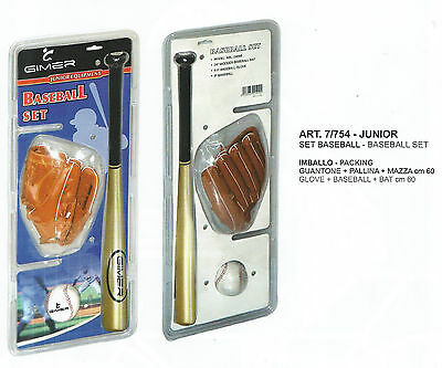 Set Baseball Mazza + Guantone + Pallina Set 60Cm