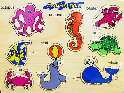 New Kids Educational Wooden Puzzle Jigsaw Boys Girls Sea Animal Toy Gift