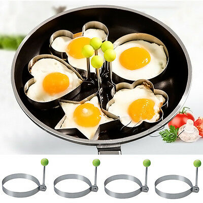 UK Stainless Steel Pancake Ring Mould Mold Cooking Fried Egg Shaper Kitchen Tool