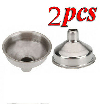 2Pcs Stainless Steel Kitchen Small Mini Funnel Metal Easy Fill Jam Jar Wide Neck