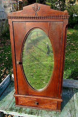 Antique Carved Wood medicine bathroom Wall Cabinet Oval Beveled mirror Apothecar
