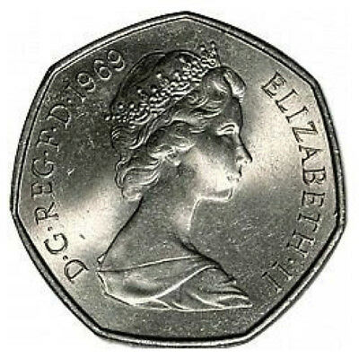1969 50P COIN RARE COLLECTABLE OLD LARGE STYLE FIFTY PENCE (b)