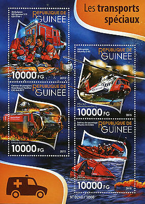 Guinea 2015 MNH Special Transport 4v M/S Ambulances Fire Engines Helicopters
