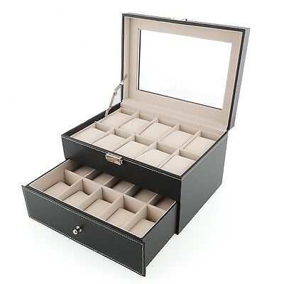 pr sentoir coffret rangement bo te montre bijoux pour 20 montres cuir pu eur 25 99 picclick fr. Black Bedroom Furniture Sets. Home Design Ideas