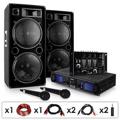 2000W Stage Dj Party System 3 Channel Mixer Amp Pa Speakers *free P&p Uk Offer