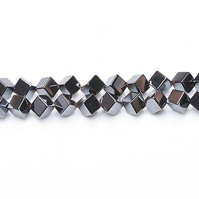 Strand Of 45+ Grey Hematite (Non Magnetic) 8mm Diagonal Cube Beads GS6850
