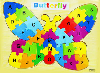 New Kids Educational Wooden Puzzle Jigsaw Boys Girls Toy Butterfly Funny Gift