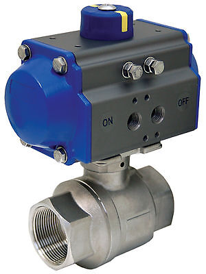 """1-1/2"""" Pneumatic Actuated Stainless Steel Ball Valve, Double Acting, New"""