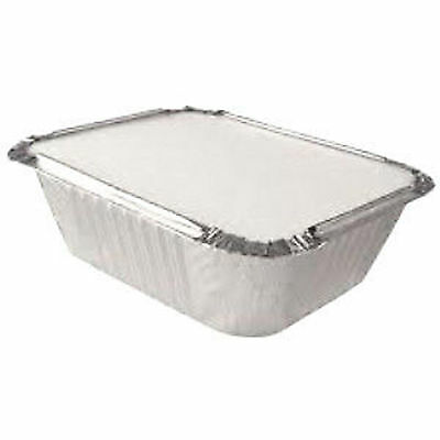 100 ALUMINIUM FOIL FOOD GRADE STORAGE CONTAINERS + 100 LIDS - No2 TAKEAWAY