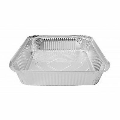 "10 x LARGE ALUMINIUM FOIL FOOD CONTAINERS TRAYS 9"" x 9"" x 2"" with 10 Lids"
