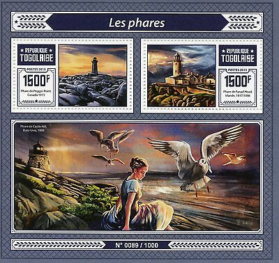 Togo 2015 MNH Lighthouses 2v S/S Peggys Point Fanad Head Lighthouse