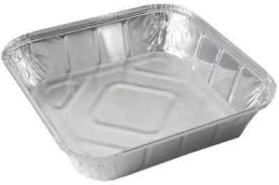 "50 x LARGE ALUMINIUM FOIL FOOD CONTAINERS TRAYS 9"" x 9"" x 2"" with 50 Lids"
