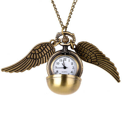 Harry Potter Golden Snitch Pendant Ball Pocket Watch Necklace Wings Cosplay Prop