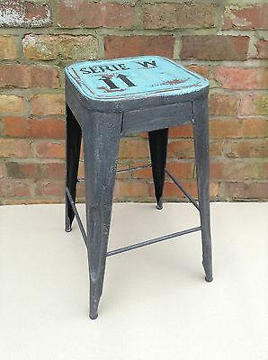 Industrial Bar Stool shabby vintage chic kitchen side table seat blue SERI