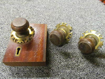 3 VINTAGE WOODEN  & BRASS CUPBOARD HANDLES c/w lock/latch  -AF112-
