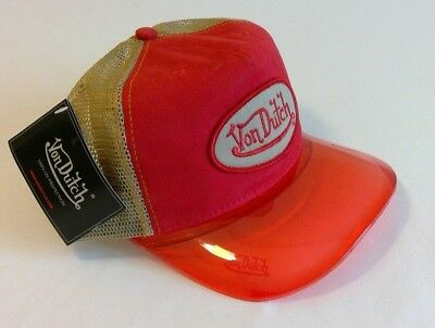 *NEW* Von Dutch Trucker Hat Red w/ Brown Mesh, Red UV Bill