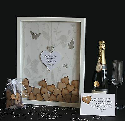 Personalised Wedding Guest book Drop Box White Silver Butterfly Large Box frame