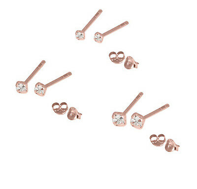 Tiny Cute 18ct Rose Gold Plated Claw Set Jewelled Silver Studs 1.5mm 2mm 2.5mm