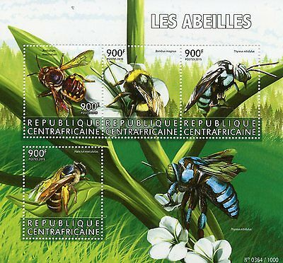 Central African Rep 2015 MNH Bees 4v M/S Insects Carder Bee Bumblebee Stamps