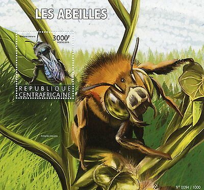 Central African Republic 2015 MNH Bees 1v S/S Insects Ashy Mining Bee Stamps