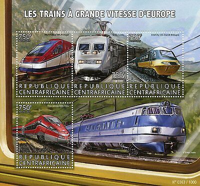 Central African Republic 2015 MNH European High-Speed Trains 4v M/S InterCity