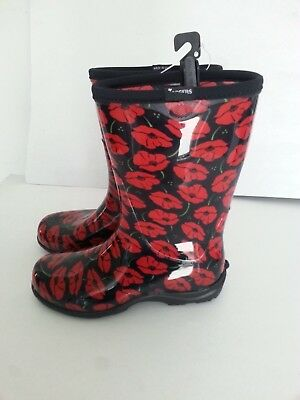 Sloggers Red Poppies Boots Size 10 NWT  Rain Garden Boots Women's Flowers