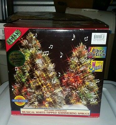 LEMAX MUSICAL WHITE TIPPED SHIMMERING SPRUCE TREE christmas FIBER OPTIC TREES