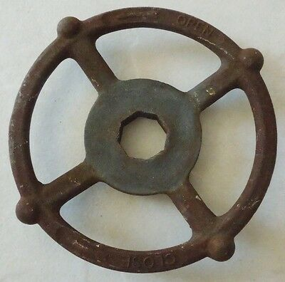 Large Vintage Steampunk Cast Iron Water Valve Handle 5 3/4""