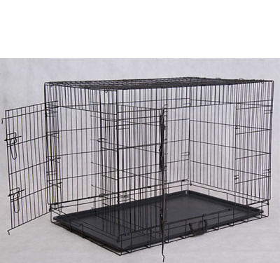 """PawHut 36"""" Two Door Folding Metal Dog Crate Cage Kennel"""" including divider"""