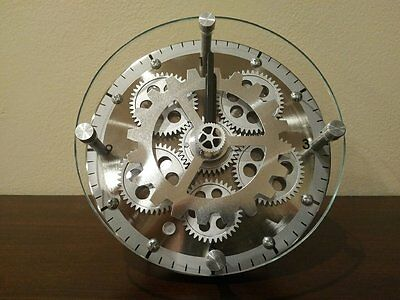 6-Inch Dual Use Table/Wall Moving Gear Clock with Glass Cover