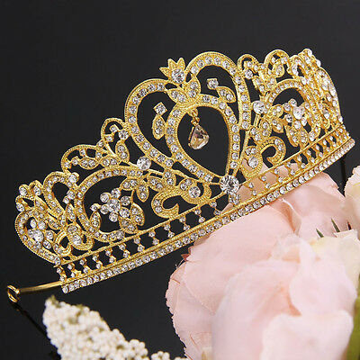 Bridal Princess Austrian Stunning Crystal Wedding Crown Veil Hair Tiara Headband