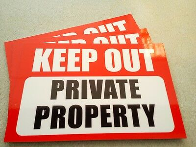 Keep Out Private Property Pack (3) Metal Safety Signs 300x225mm Free Post