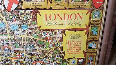 London, The Bastion of Liberty framed map UK 1947 Lee Kerry