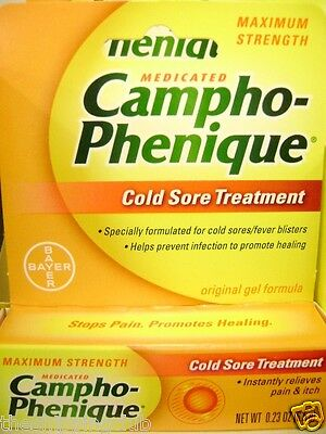 1- CAMPHO-PHENIQUE Cold Sore Treatment .23oz Max Strength Pain Itch Relief BAYER