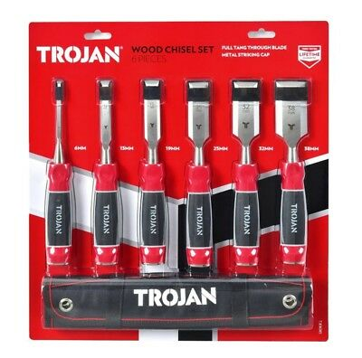 New Hand Tool Carving Trojan 6 Piece Wood Chisel Set