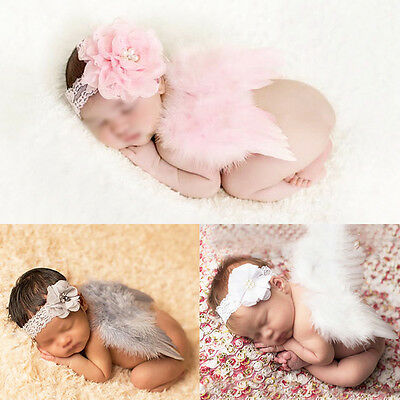 Newborn Baby Costume Wing+Elastic Flower Headband Photo Photography Prop Outfit
