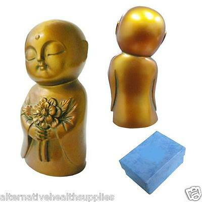 Jizo holding flower  - 80mm Shaoshun Stone Antique Bronze Colour