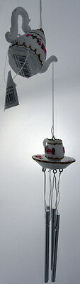 Teapot Windchime Wind Chime Home Garden Decor Gift  - Hanging Ornament - NEW