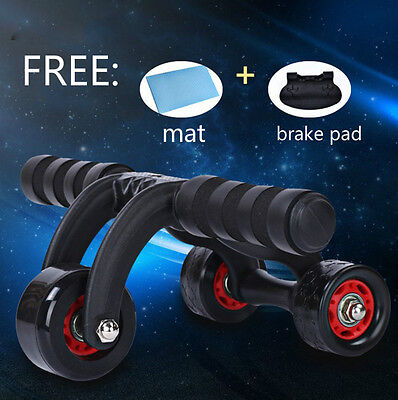3-Wheel Fitness Ab Roller Workout System Abdominal Abs Gym Exerciser 2016