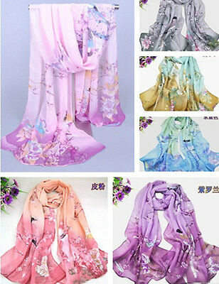 New Women's Printed Flower Soft Silk Chiffon Neck Scarf Wrap Shawl Stole