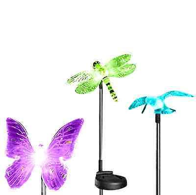 Solar Powered Hummingbird Butterfly Dragonfly Garden Stake Light LED Chang  Color