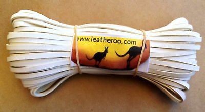 "Kangaroo Lace WHITE Kangaroo Leather Lacing 4.7mm (3/16"") Width 10 meter hank"