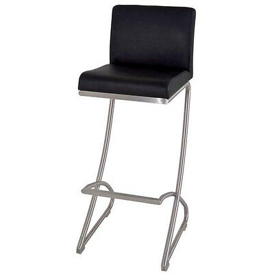 Pietro Bar Chair In Black Real Leather With Stainless Steel Base