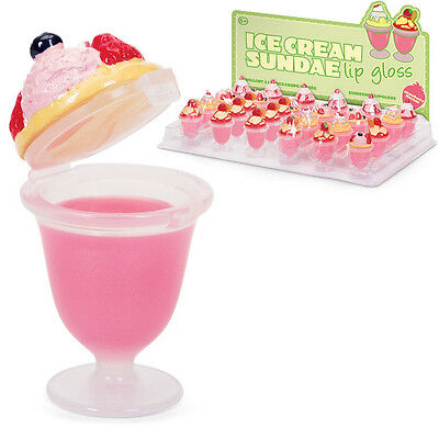 Ice Cream Lip Gloss Girls Strawberry Flavour Balm Makeup Toy Party Bag Filler
