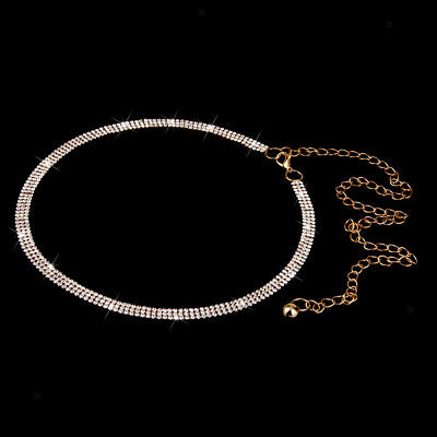 Women 3 Row Diamante Crystal Rhinestone Belt WAIST HIP BELLY BODY CHAIN Gold