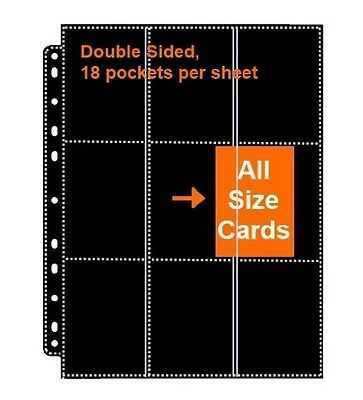 18 Pockets Double Sided 9 Pocket Page Black MTG TCG Ultra Pro Binder pokemon Wow