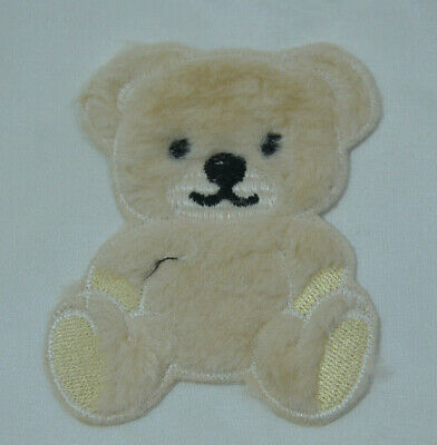 5 x brown teddy bear faces embroidered sew on cloth patch badge