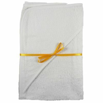 2 x 100% Cotton Hooded New Born Baby Cuddle Robe Towel White 60 x 60 Shower Gift