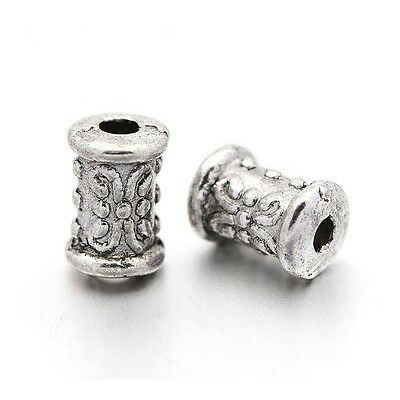 Packet 50+ Antique Silver Tibetan 5 x 7mm Tube Spacer Beads HA17300